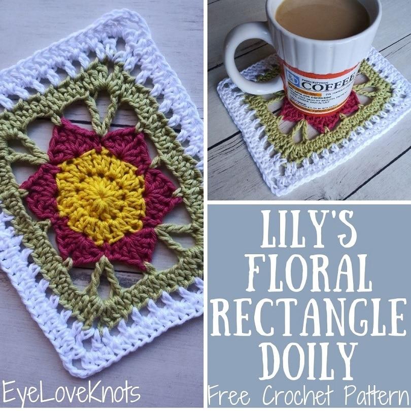Lily's Floral Rectangle Doily, Free Crochet Pattern by EyeLoveKnots