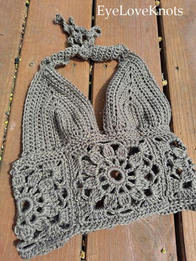 brown crocheted Summer top, EyeLoveKnots
