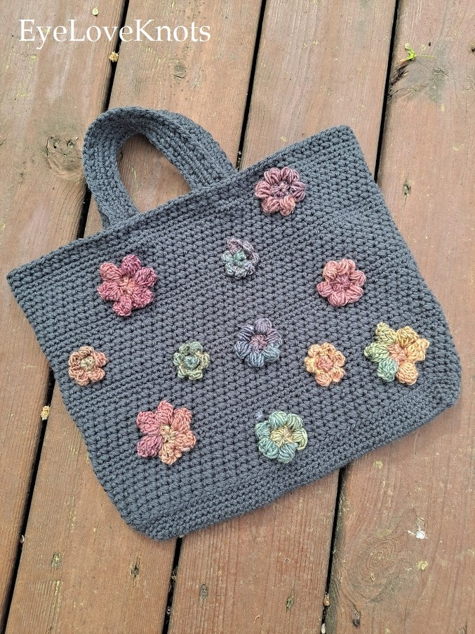 Grey Purse with Colorful Flowers, Cross Pollination Bag, EyeLoveKnots