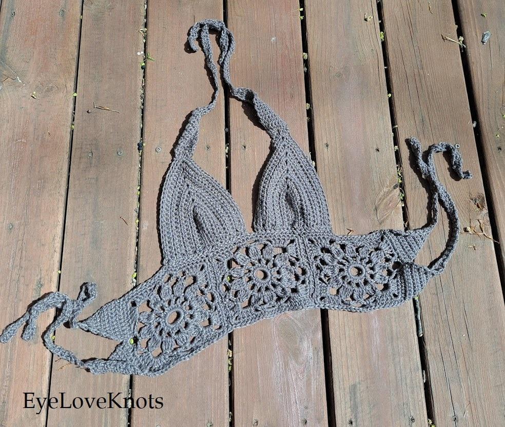 brown crocheted Summer top, EyeLoveKnots,