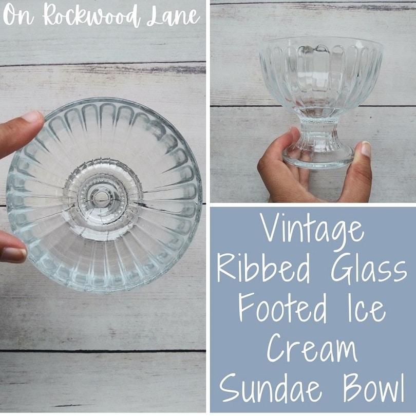 Vintage Ribbed Glass Footed Ice Cream Sundae Bowl