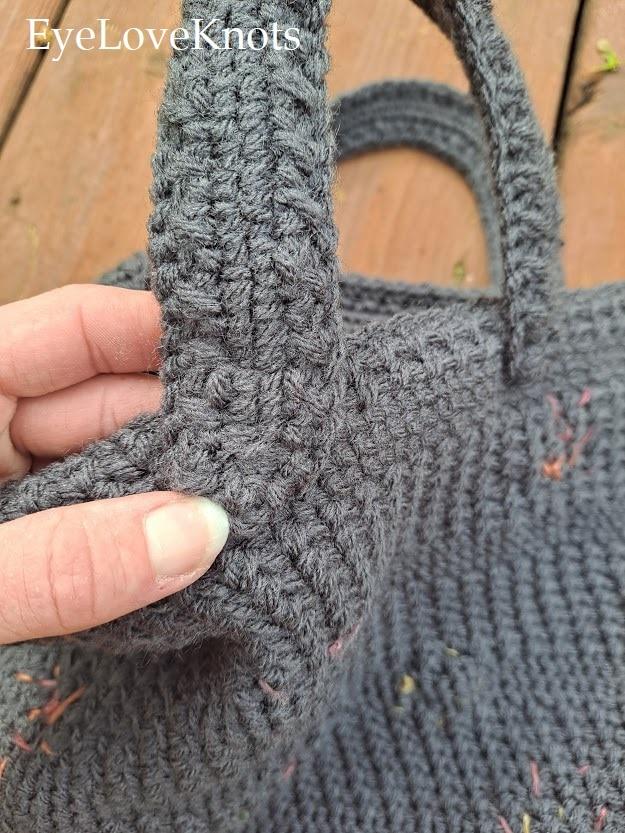 Grey crocheted purse handles
