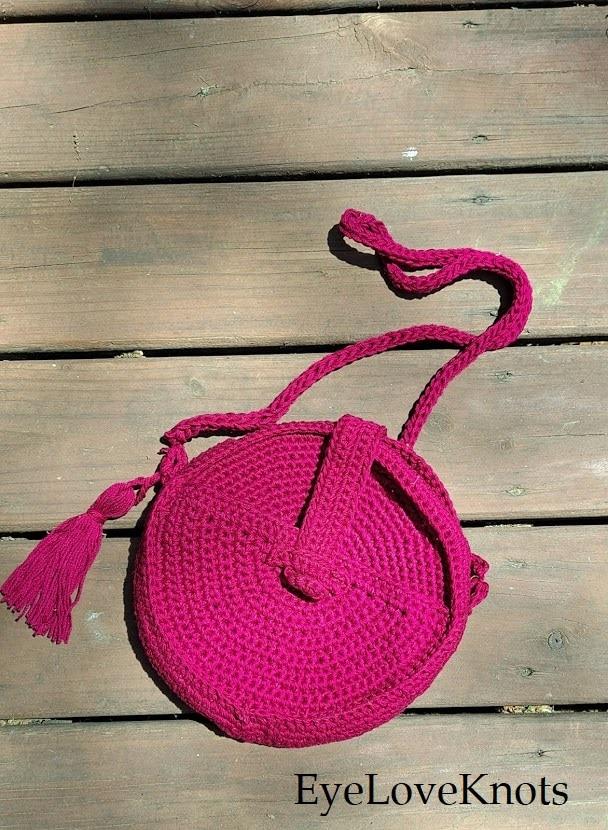 Pink Crochet Crossbody Canteen Bag, EyeLoveKnots